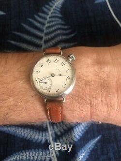 Antique Vintage En Argent Sterling 1912 Elgin Ww1 Trench Wristwatch Courir Fort