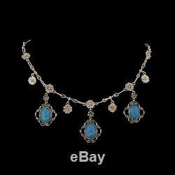 Antique Vintage Nouveau En Argent Sterling Étrusques Lapis Lazuli Festoon Collier