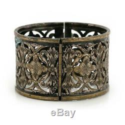 Antique Vintage Nouveau En Argent Sterling Plaqué Jugendstil Floral Bracelet Énorme