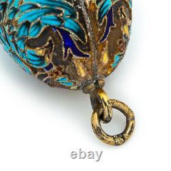 Antique Vintage Nouveau Sterling Argent Or Russe Pendentif Émail Faberge 5.1g