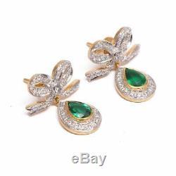 Antique / Vintage Or Jaune 18 Carats Plus 1.22ct Boucles D'oreilles Diamant Émeraude Colombienne