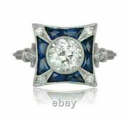 Antique Vintage Retro Bague De Fiançailles 2ct Diamond & Sapphire 14k Or Blanc Plus