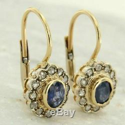 Antique Vintage Rose Taille Diamant / Saphir Dangle 14k Or Jaune Plus De Boucles D'oreilles