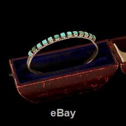 Antique Vintage Sterling Silver Coin Navajo Indien Ligne Ajax Turquoise Bracelet