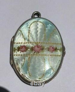 Antique Vintage Victorian Deco Argent Guilloche Émail Locket Roses Sterling