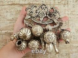 Antique Vintage Victorian Sterling Silver Ragastens Penca Balangandan Collier