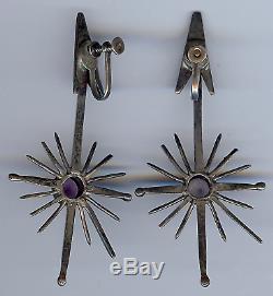 Antonio Pineda Big Vintage Mexique Sterling Amethyst Star & Sous-dangle Boucles D'oreilles