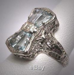 Aquamarine Vintage 6.00ct Gemstone Art Déco Antique Domaine De Mariage 1920 Bow Anneau