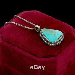 Argent Antique Vintage Sterling Navajo Indien Royston Collier Turquoise Pendentif