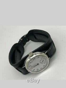 Argent Massif Vintage Ww1 Trench Military Watch (serviced + Garantie)