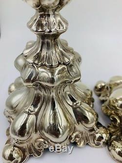 Argent Rococo Vintage Suédoise Sterling Bougie Bâton Jeu De 2