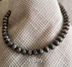 Argent Sterling Collier Vintage Perles Navajo Avec Riche Patine Chaude