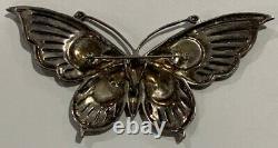 Argent Sterling Enamel Garnet Marcasite Pendentif Papillon Pin Brooch G41