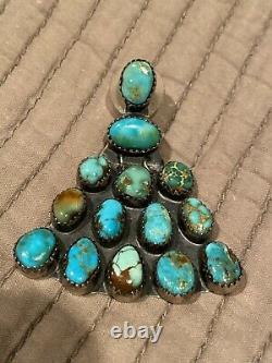 Argent Sterling Navajo Vintage Avec Boucles D'oreilles Turquoise Naturelles
