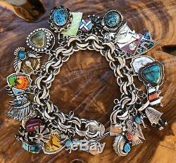 Argent Sterling Vintage Natif Bracelet Turquoise Sud-ouest Américain