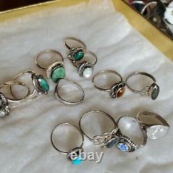 Argent Sterling Vtg Ring Lot Mexique Turquoise Multi Pierre Sans Scrap Native Sz5 4