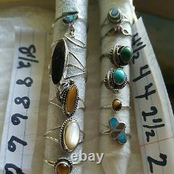 Argent Sterling Vtg Ring Lot Noir Onyx Cat Eye Turquoise Non Scrap Native Sz6 8