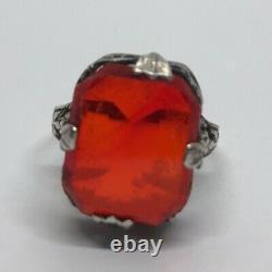 Argent Vintage Bague En 925 Taille 5 Deco Rouge Faux Ruby Verre