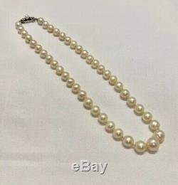 Argent Vintage Mikimoto Sterling Fermoir 6.5mm-9.5mm Akoya Collier De Perles 15