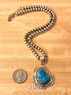 Argent Vintage Navajo Etsitty Sterling Turquoise Pendentif Boule Perle Collier 925