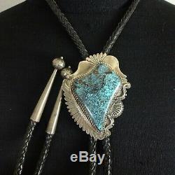 Argent Vintage Navajo Sterling Estampé Main Gold Canyon Turquoise Bolo Tie