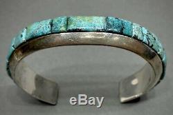 Argent Vintage Navajo Sterling Turquoise Cobblestone Inlay Bracelet