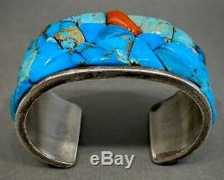 Argent Vintage Navajo Sterling Turquoise Corail Cobblestone Bracelet Lourd