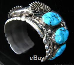 Argent Vintage Signé Zuni Amérindien Sterling Turquoise Montre Manchette