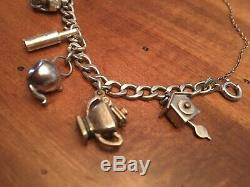 Argent Vintage Sterling 10 Charms Charm Lien De Crâne Bracelet