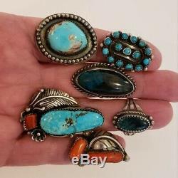 Argent Vintage Sterling Amérindien Bague Lot Turquoise Et Corail
