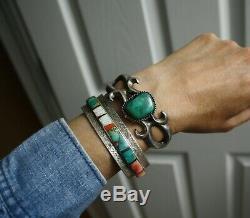 Argent Vintage Sterling Amérindien Navajo Sandcast Turquoise Bracelet