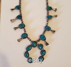 Argent Vintage Sterling Amérindien Turquoise Squash Blossom Collier