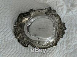 Argent Vintage Sterling Trèfle Motif Motif Bon Bon Plat, 67 Grammes