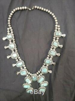Argent Vintage Sterling Turquoise Stormy Mountain Squash Collier Fleur