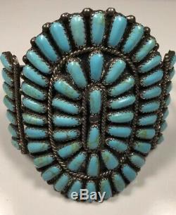 Argent Vintage Sterling Zuni Cluster Bracelet. Turquoise Bloc