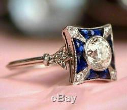 Art Antique Vintage Rétro Mariage Déco Anneau 2 Ct Diamant Rond 14k Or Blanc Fn