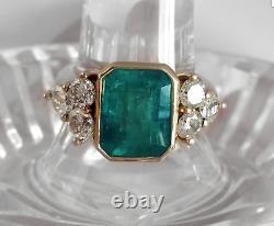 Art Déco 2.45 Ct Emerald Green Saphir Antique Vintage Bague De Fiançailles En Argent