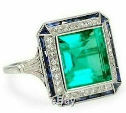 Art Deco 2,90 Ct Vert Émeraude Diamant Style Vintage Bague En Or Blanc 14k Terminer