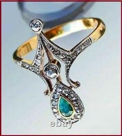 Art Déco 2ct Forme De Poire Emeraude, Diamant Vintage & Antique Anneau 14k Or Jaune Fn