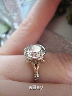 Art Déco 3,20 Ct Blanc Coupe Diamant Rond Argent 925 Bague De Fiançailles Vintage