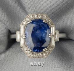 Art Déco 3.20ct Blue Oval Cut Diamond 925 Silver Engagement Vintage Antique Ring