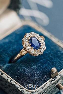 Art Déco 3.5ct Coupe Ovale Bleu Saphir Argent 925 Bague De Fiançailles Antique Vintage