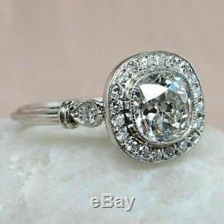 Art Deco 3 Ct Diamond Ring Antique Vintage Mariage Bague En Or Blanc 14k Plus