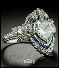 Art Déco 4,00 Ct Coeur Diamant Taille Vintage Bague De Fiançailles En Or Blanc 14k Terminer