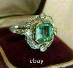 Art Déco 5.00ct Vert Emeraude Antique Vintage Fiançailles Anneau De Mariage 925 Argent