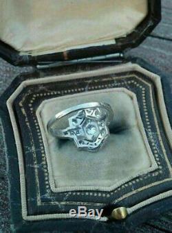 Art Déco Antique Bague De Fiançailles De Mariage 2ct Vintage Diamant 14k Or Sur