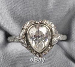 Art Déco Ct Pear Forme 2.88 Diamant Antique Vintage Mariage Bague Argent 925