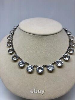 Art Déco Riviere Sterling Silver Collier Coller Strass Crystal Stone Vintage