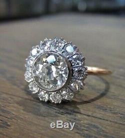 Art Déco Vintage 3,20 Ct Rond Taillé Diamant De Fiançailles Antique Bague De Mariage Rdj