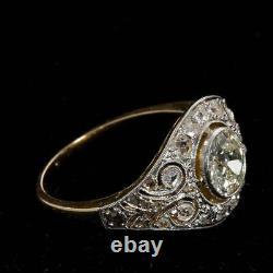 Art Déco Vintage 4.50ct Diamant Rond Argent 925 Antique Bague De Mariage